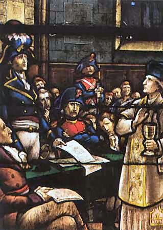 Vitrail de l'église du Louroux-Béconnais montrant le second procès de Noël Pinot, devant la commission militaire d'Angers, le 21 février 1794