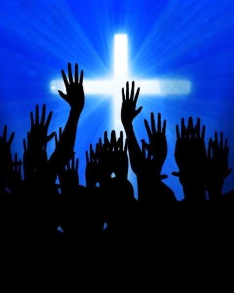 celebrating jesus on a soft blue background