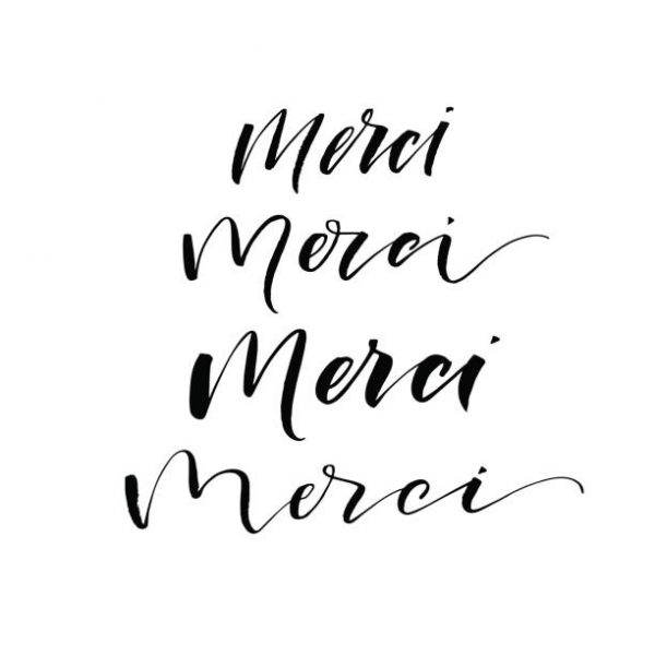Merci card. Thank you in French. Set of merci phrases. Ink illustration. Modern brush calligraphy. Isolated on white background.